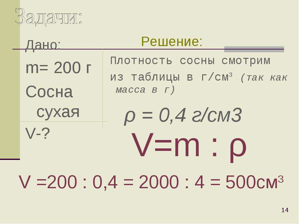 Дано: m= 200 г Сосна сухая V-? * Плотность сосны смотрим из таблицы в г/cм3 (...