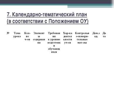 7. Календарно-тематический план (в соответствии с Положением ОУ) № Тема урока...