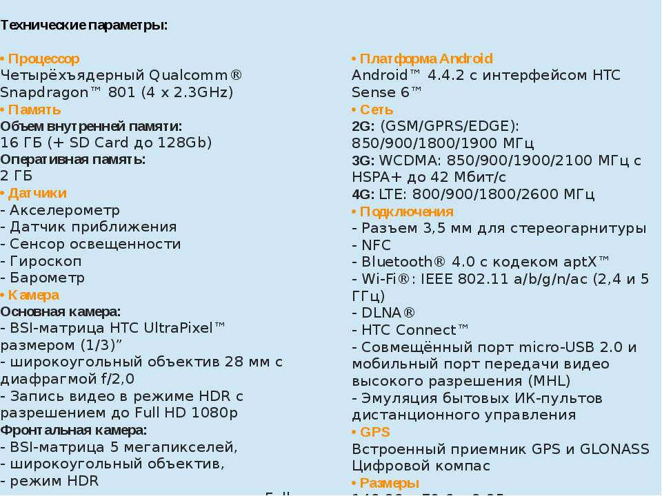 Технические параметры:  • Процессор ЧетырёхъядерныйQualcomm®Snapdragon™ 80...