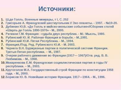 Источники: Ш.де Голль. Военные мемуары, т I, С. 252 Григорьев А. Французский ...