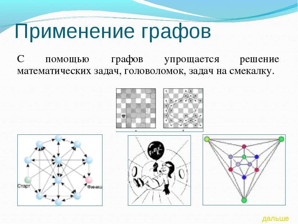 Применение графов С помощью графов упрощается решение математических задач, г...