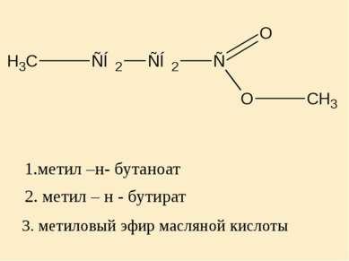 2. метил – н - бутират 3. метиловый эфир масляной кислоты 1.метил –н- бутаноат