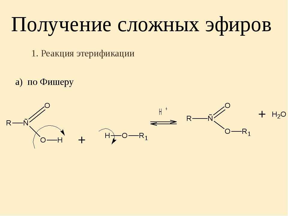 Получение сложных эфиров 1. Реакция этерификации а) по Фишеру