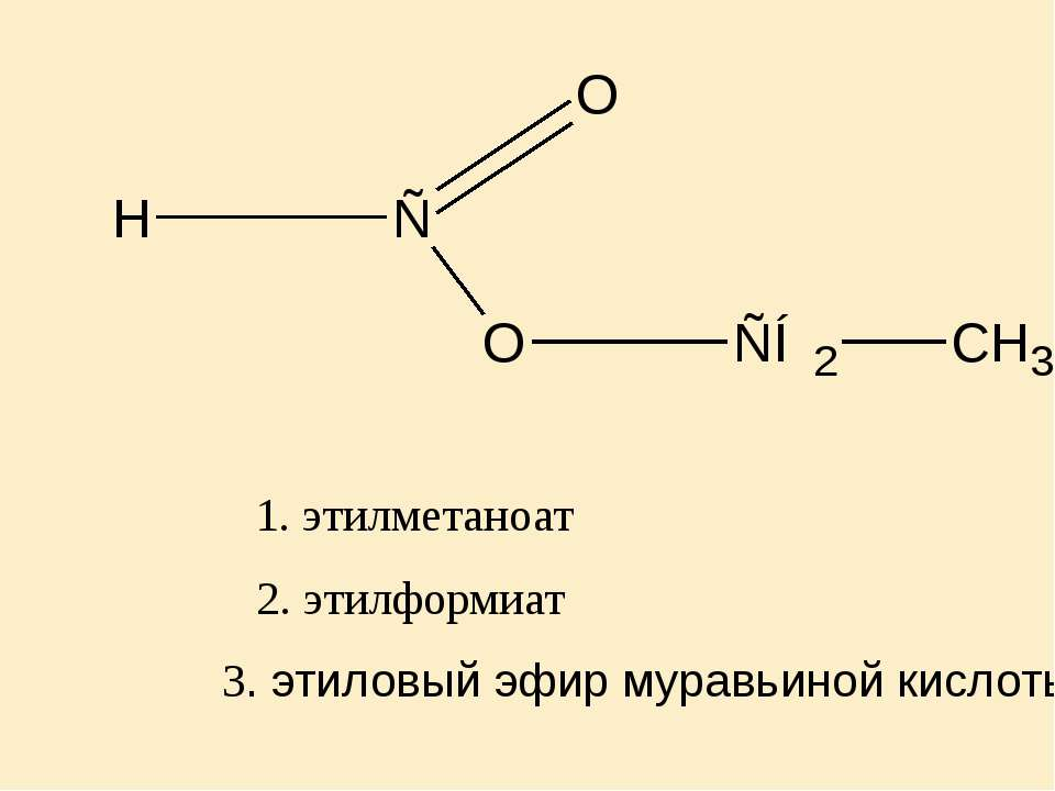 2. этилформиат 1. этилметаноат 3. этиловый эфир муравьиной кислоты
