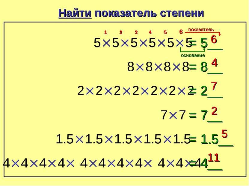 Найти показатель степени 5×5×5×5×5×5 = 5__ 6 1 2 3 4 5 6 8×8×8×8 = 8__ 4 2×2×...