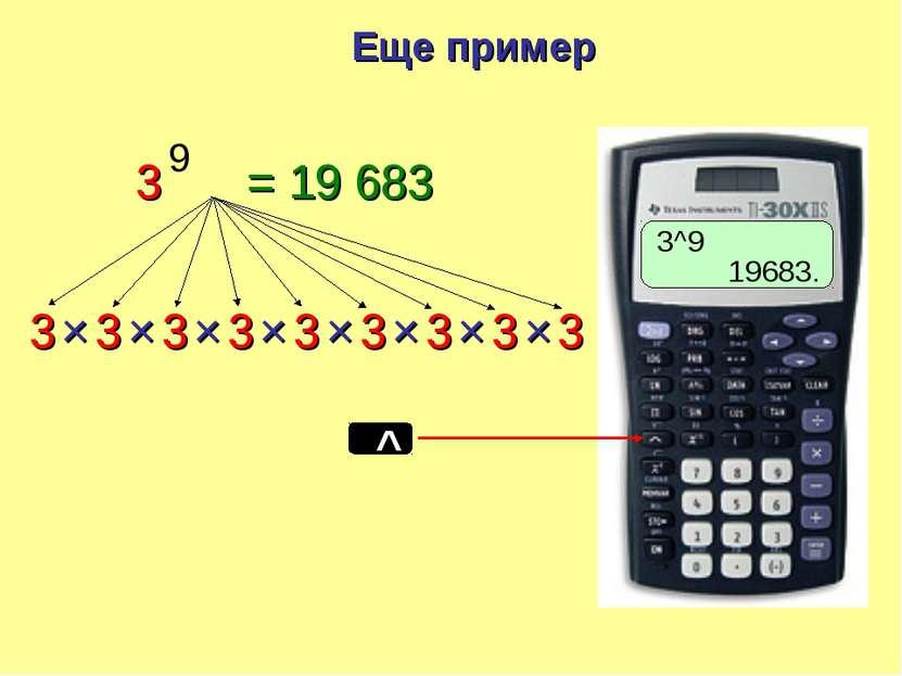 3 3 3 3 3 × × × × 3 9 3 × = 19 683 3 3 × × 3 × Еще пример 3^9 19683.