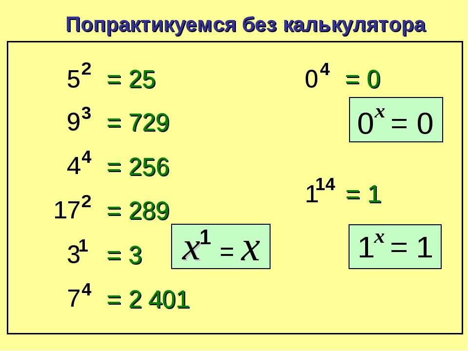 5 2 Попрактикуемся без калькулятора = 25 9 3 = 729 4 4 = 256 17 2 = 289 3 1 =...