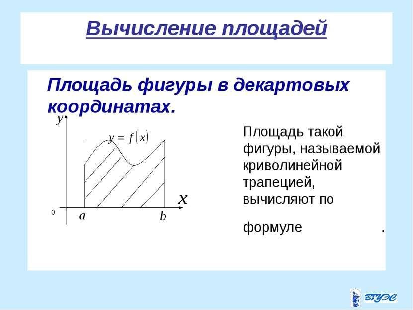 Вычисление площадей Площадь фигуры в декартовых координатах.