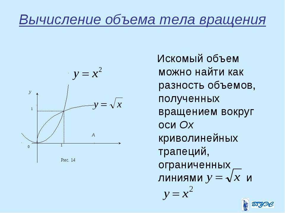 Вычисление объема тела вращения Искомый объем можно найти как разность объемо...