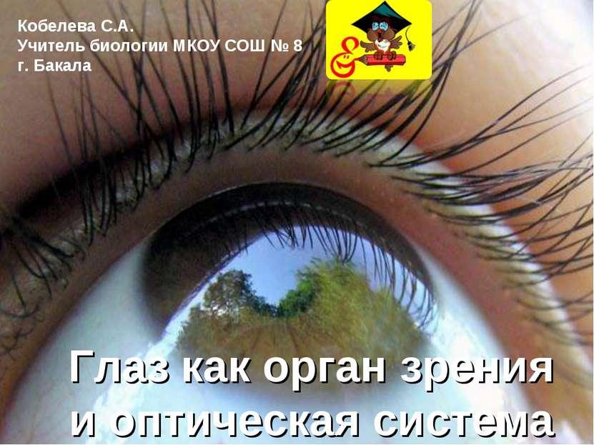 Глаз как орган зрения и оптическая система Кобелева С.А. Учитель биологии МКО...