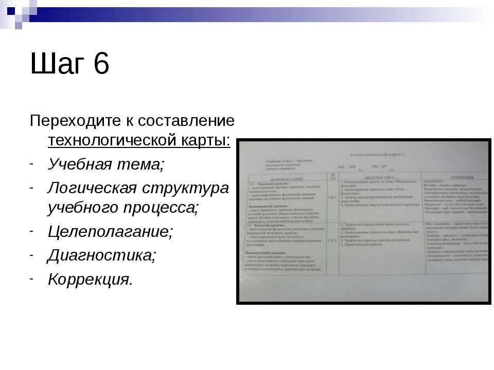 Шаг 6 Переходите к составление технологической карты: Учебная тема; Логическа...