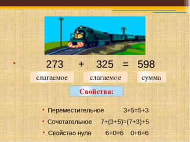 273 + 325 = 598 Переместительное 3+5=5+3 Сочетательное 7+(3+5)=(7+3)+5 Свойст...