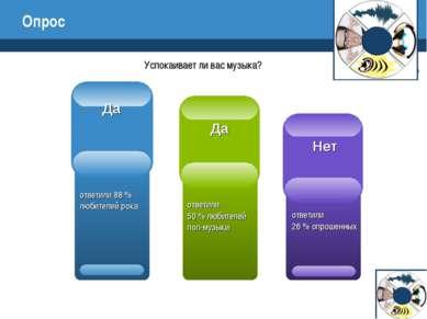 Опрос Успокаивает ли вас музыка? ответили 88 % любителей рока ответили 50 % л...