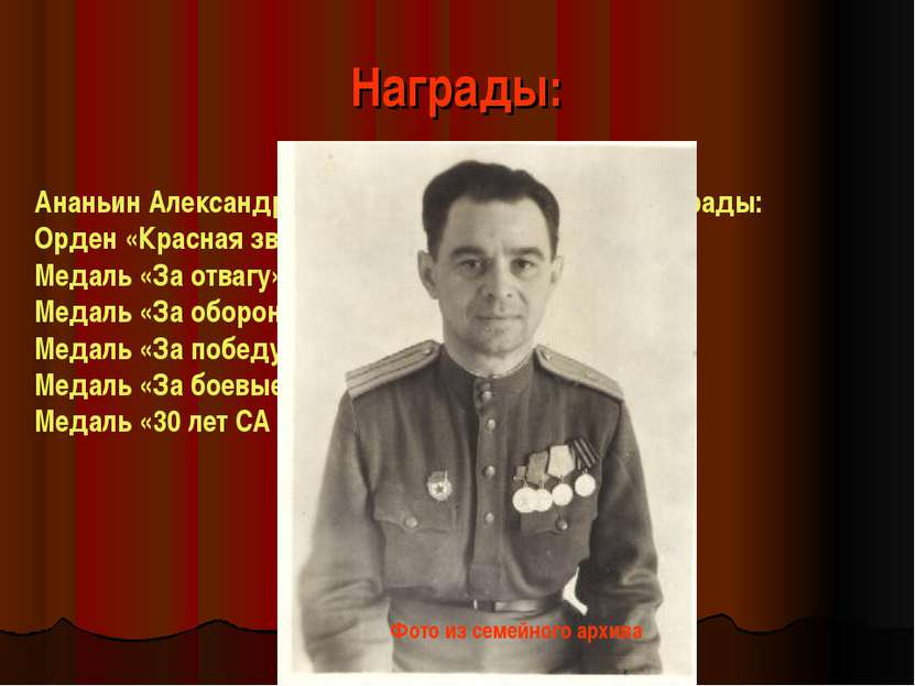 Награды: Ананьин Александр Петрович имел следующие награды: Орден «Красная зв...