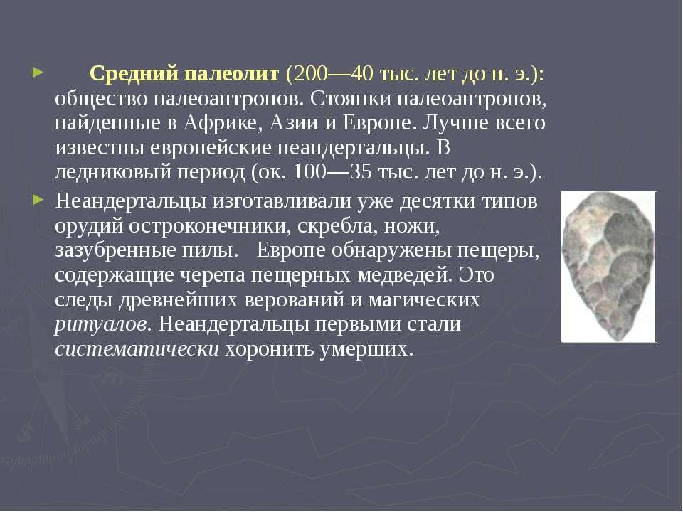 Средний палеолит (200—40 тыс. лет до н. э.): общество палеоантропов. Стоянки ...