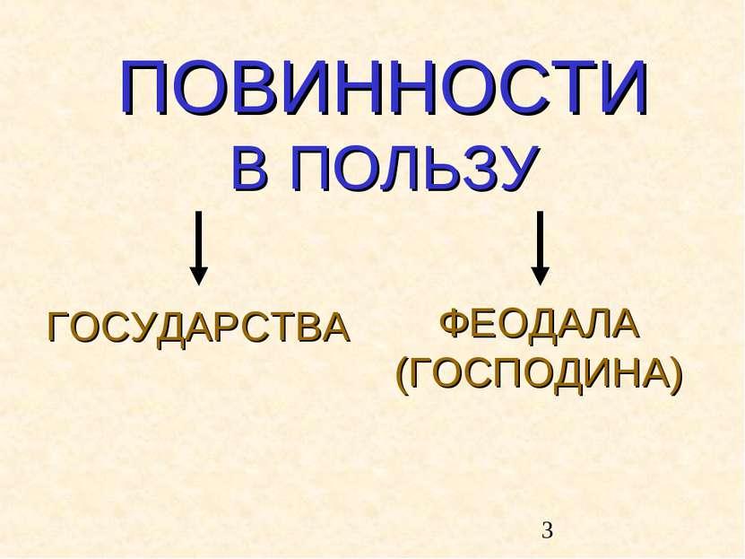 ПОВИННОСТИ В ПОЛЬЗУ ГОСУДАРСТВА ФЕОДАЛА (ГОСПОДИНА)