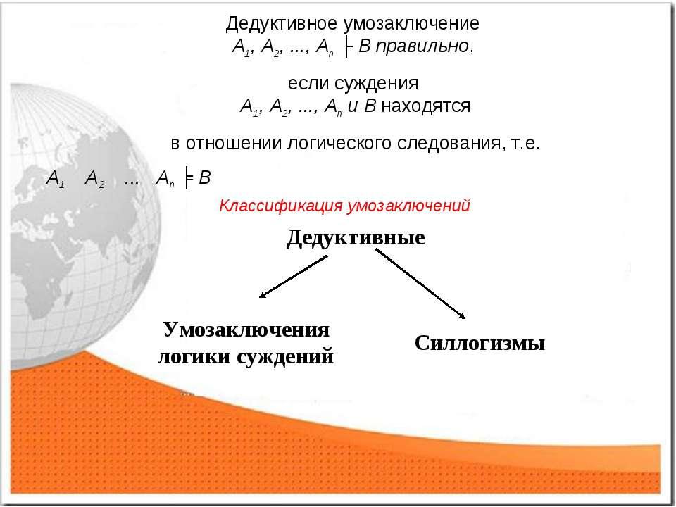 Дедуктивное умозаключение А1, А2, ..., Аn ├ B правильно, если суждения А1, А2...