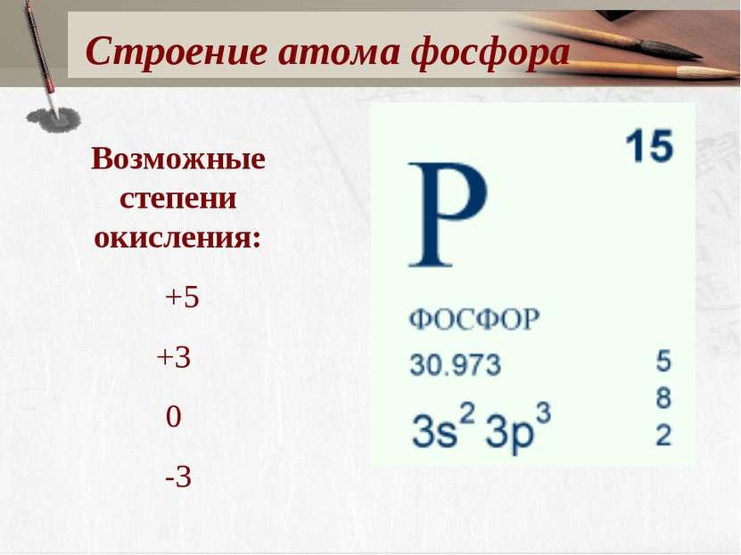 Строение атома фосфора Возможные степени окисления: +5 +3 0 -3
