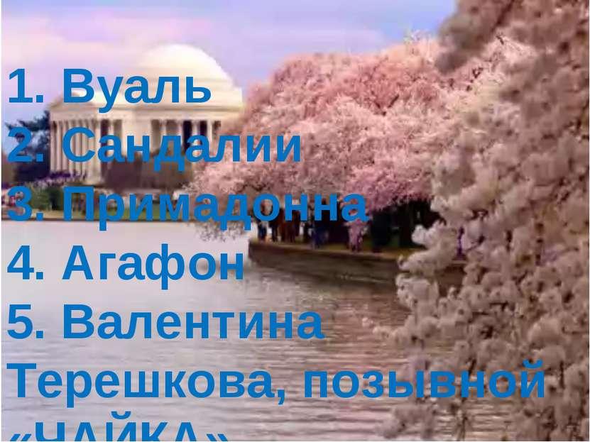 1. Вуаль 2. Сандалии 3. Примадонна 4. Агафон 5. Валентина Терешкова, позывной...