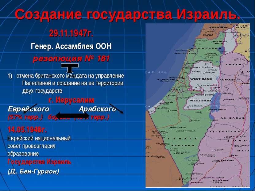 Создание государства Израиль. 29.11.1947г. Генер. Ассамблея ООН резолюция № 1...