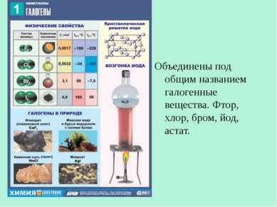 Объединены под общим названием галогенные вещества. Фтор, хлор, бром, йод, ас...