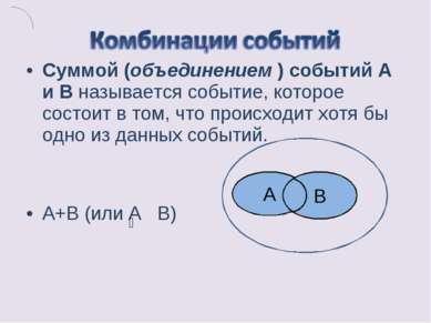 Суммой (объединением ) событий А и В называется событие, которое состоит в то...