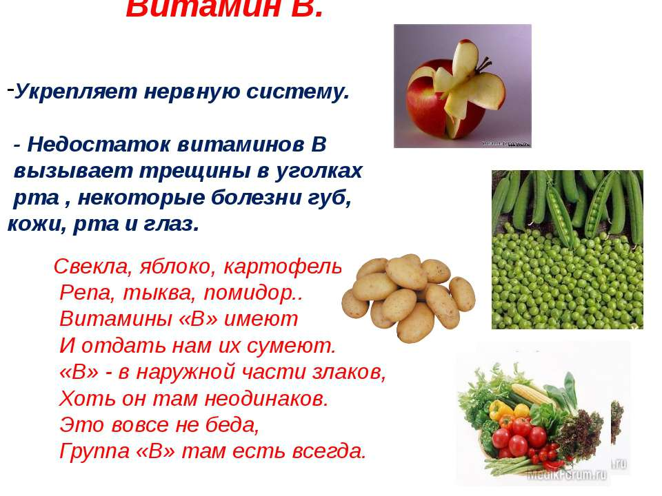 Витамин В. Укрепляет нервную систему. - Недостаток витаминов В вызывает трещи...