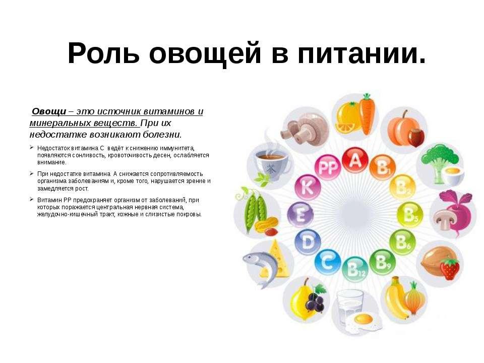 Роль овощей в питании. Овощи – это источник витаминов и минеральных веществ. ...