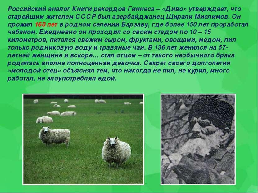 Российский аналог Книги рекордов Гиннеса – «Диво» утверждает, что старейшим ж...