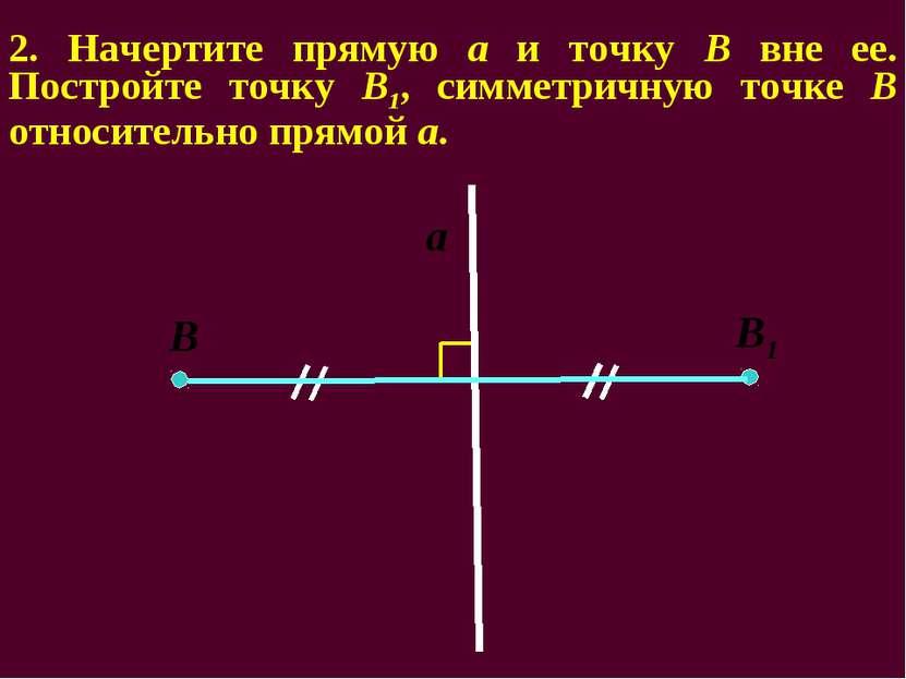 2. Начертите прямую а и точку В вне ее. Постройте точку В1, симметричную точк...