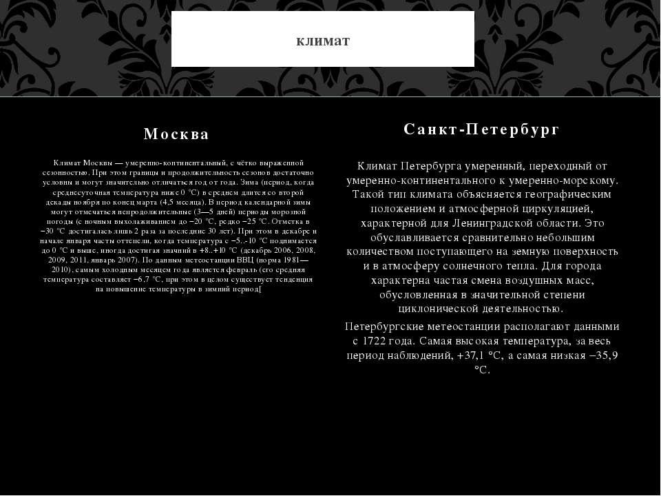 Климат Москвы — умеренно-континентальный, с чётко выраженной сезонностью. При...