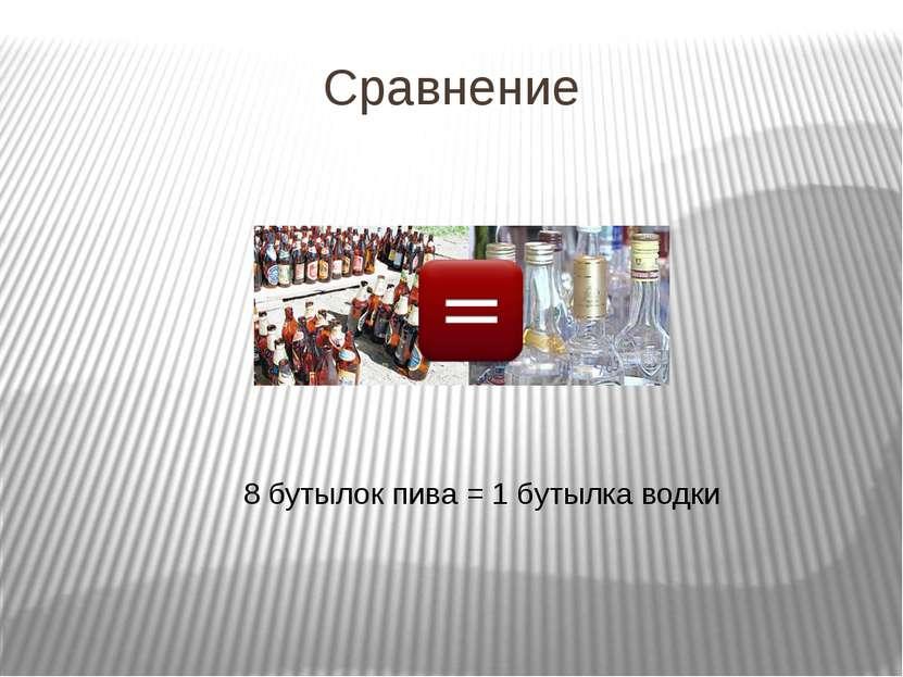 Сравнение 8 бутылок пива = 1 бутылка водки
