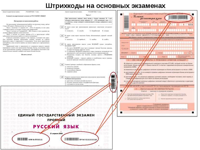 БР № 3111111111114 КИМ № 55515111 Штрихкоды на основных экзаменах