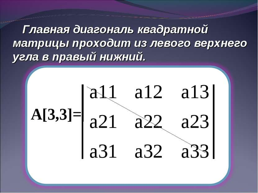 Главная диагональ квадратной матрицы проходит из левого верхнего угла в правы...