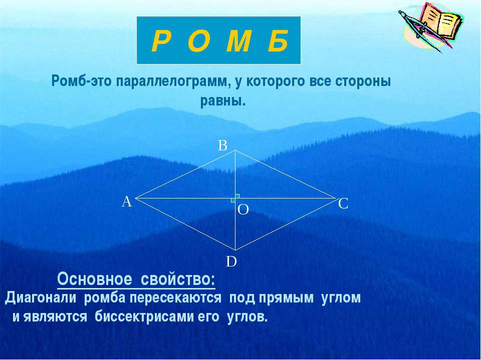 Ромб-это параллелограмм, у которого все стороны равны. Р О М Б Основное свойс...