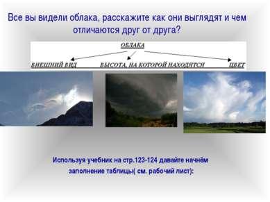 Все вы видели облака, расскажите как они выглядят и чем отличаются друг от др...