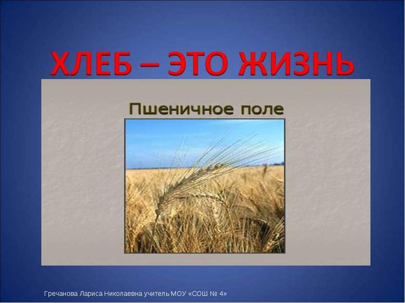Гречанова Лариса Николаевна учитель МОУ «СОШ № 4»