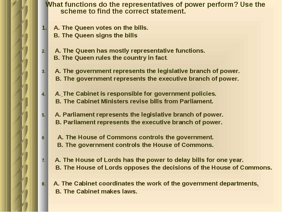 What functions do the representatives of power perform? Use the scheme to fin...