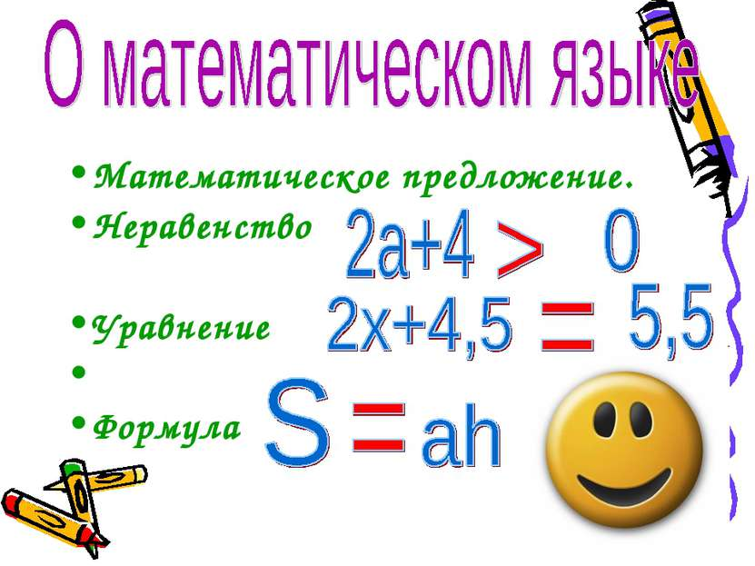Математическое предложение. Неравенство Уравнение Формула
