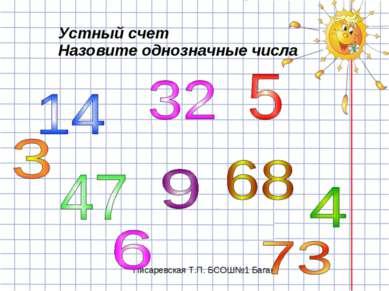 Устный счет Назовите однозначные числа Писаревская Т.П. БСОШ№1 Баган
