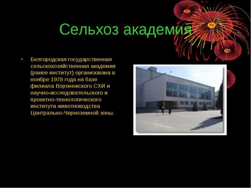 Сельхоз академия Белгородская государственная сельскохозяйственная академия (...