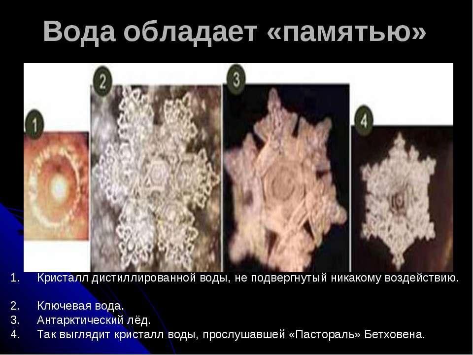 Вода обладает «памятью» 1. Кристалл дистиллированной воды, не подвергнуты...
