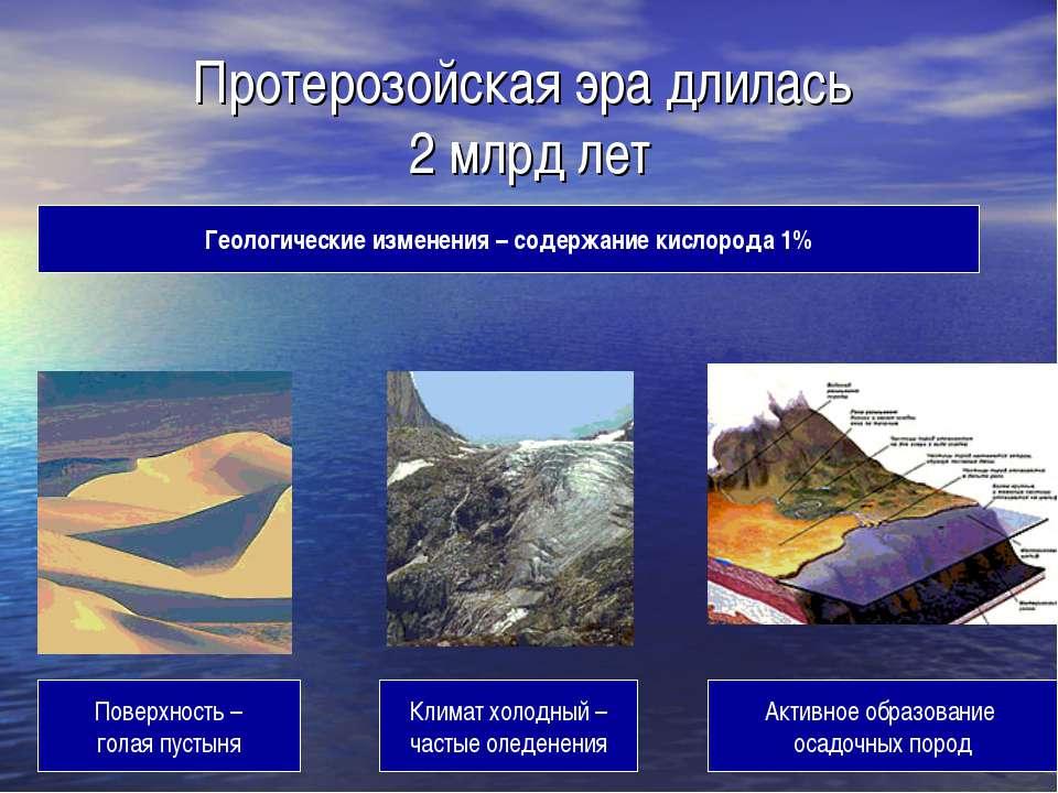 Протерозойская эра длилась 2 млрд лет Поверхность – голая пустыня Геологическ...