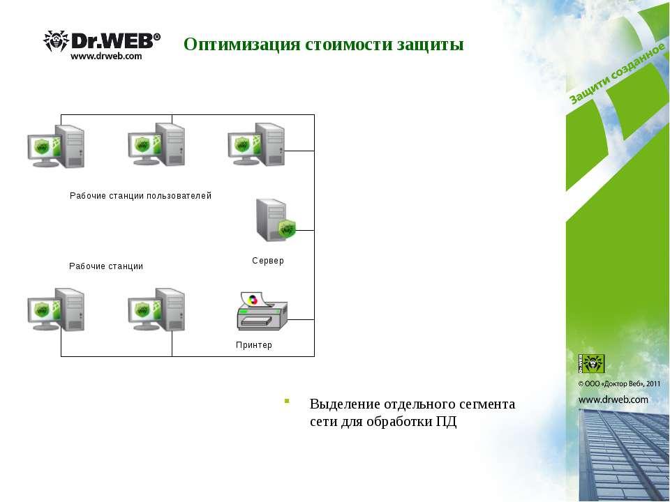 Выделение отдельного сегмента сети для обработки ПД Сервер Принтер Рабочие ст...