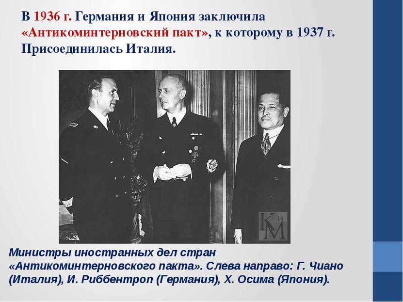 Министры иностранных дел стран «Антикоминтерновского пакта». Слева направо: Г...