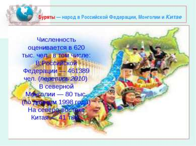 Буряты— народ в Российской Федерации, Монголии и Китае Численность оценивает...