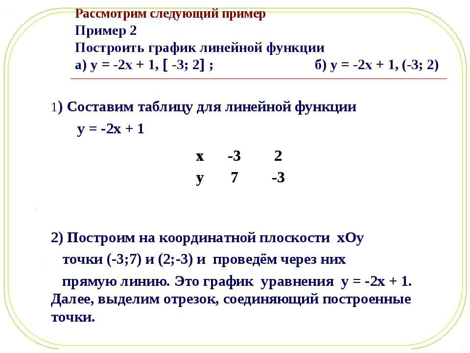 Рассмотрим следующий пример Пример 2 Построить график линейной функции а) y =...