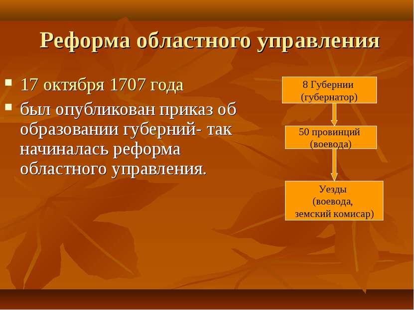 Реформа областного управления 17 октября 1707 года был опубликован приказ об ...