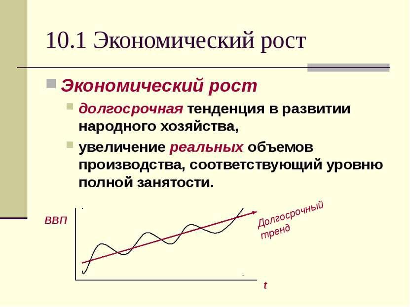 10.1 Экономический рост Экономический рост долгосрочная тенденция в развитии ...