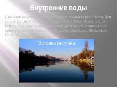 Внутренние воды Главными водными артериями Европы являются реки Волга, Дон, Д...